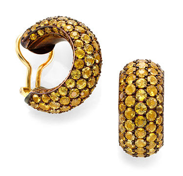 A Pair of Yellow Sapphire Hoop Ear Clips, by Hemmerle