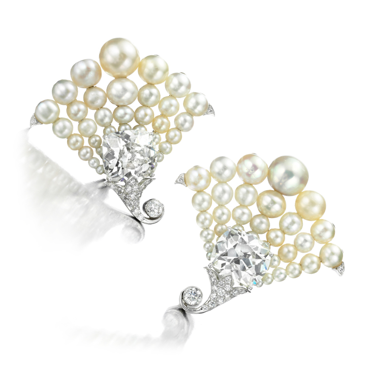 A Pair of Natural Pearl and Diamond Ear clips, by Bhagat