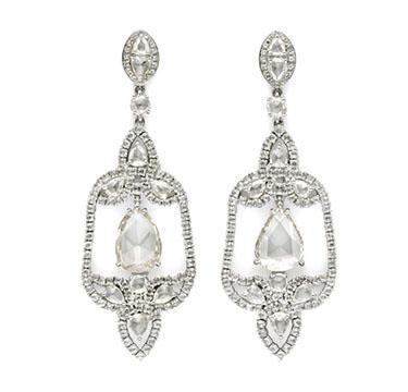 A Pair of Rose-cut Diamond Ear Pendants, by Carnet