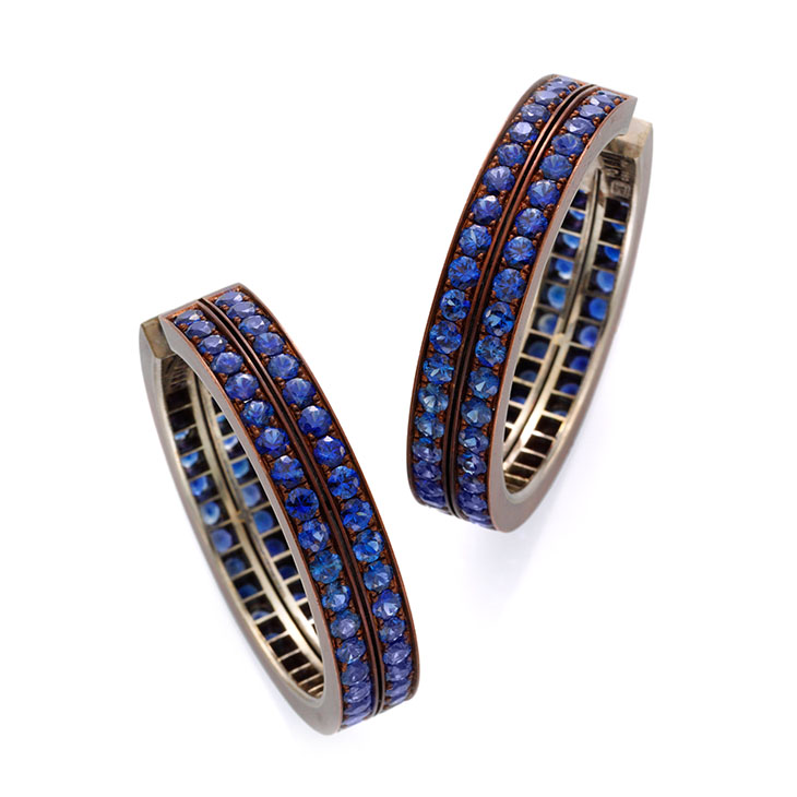 A Pair of Sapphire and Copper Hoop Ear Clips, by Hemmerle