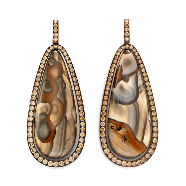 A Pair of Jasper and Diamond Ear Pendants, by Hemmerle
