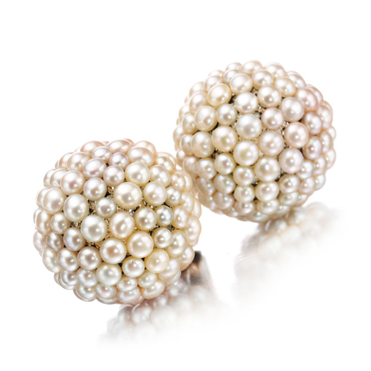 A Pair of Natural Pearl and Diamond Ear Clips, by JAR