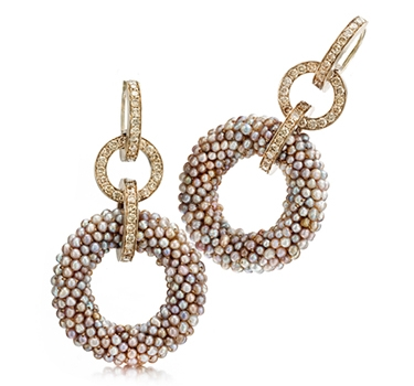 A Pair Of Natural Pearl And Colored Diamond Ear Pendants, By Hemmerle