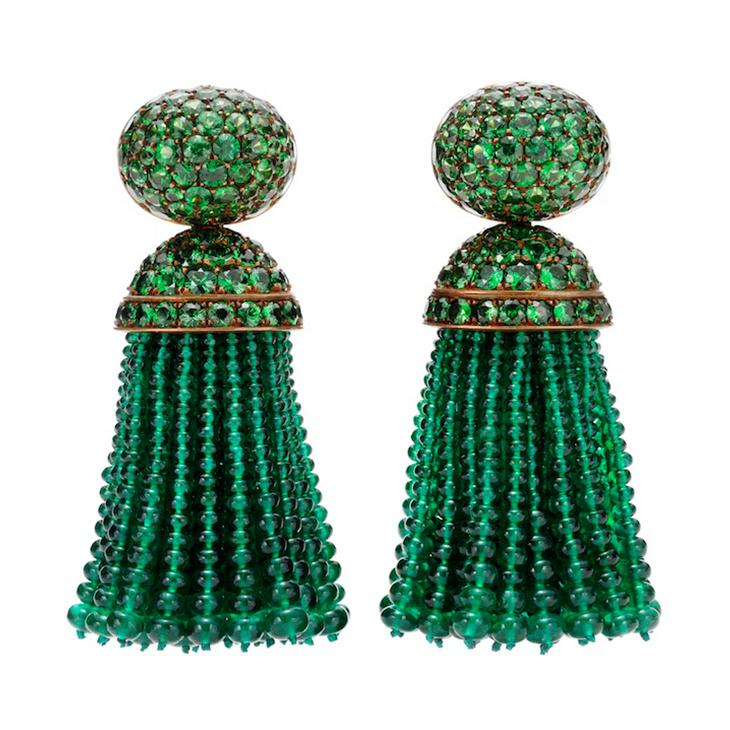 A Pair of Emerald and Tsavorite Ear Pendants, by Hemmerle