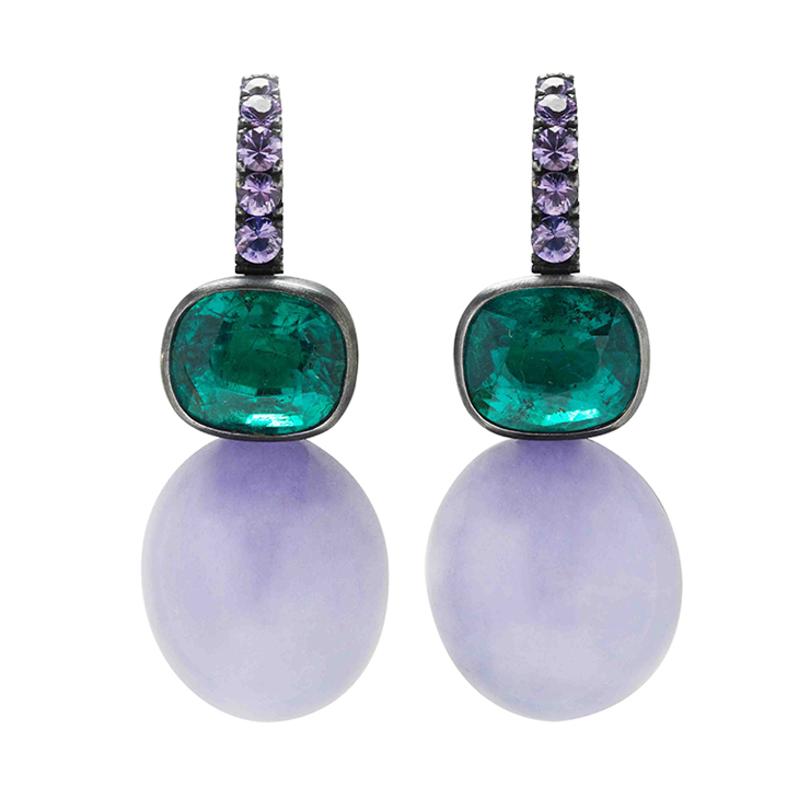 A Pair of Emerald and Jade Ear Pendants, by Hemmerle
