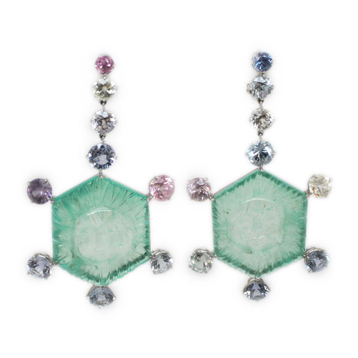 A Pair of Emerald and Spinel Ear Pendants, by Taffin