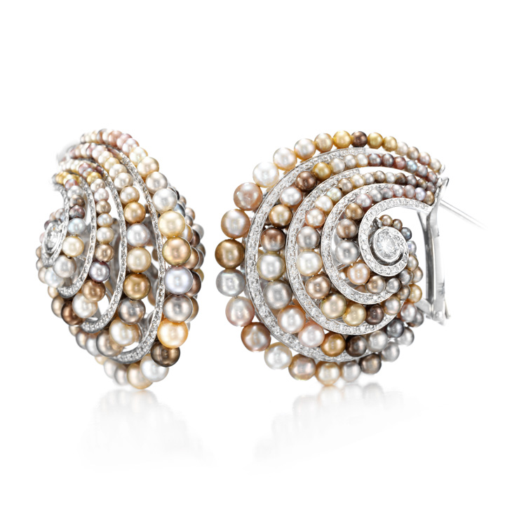 A Pair of Multi-colored Natural Pearl and Diamond Ear clips, by Bhagat