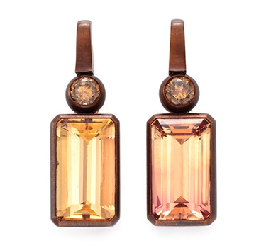 A Pair Of Topaz And Diamond Ear Pendants, By Hemmerle