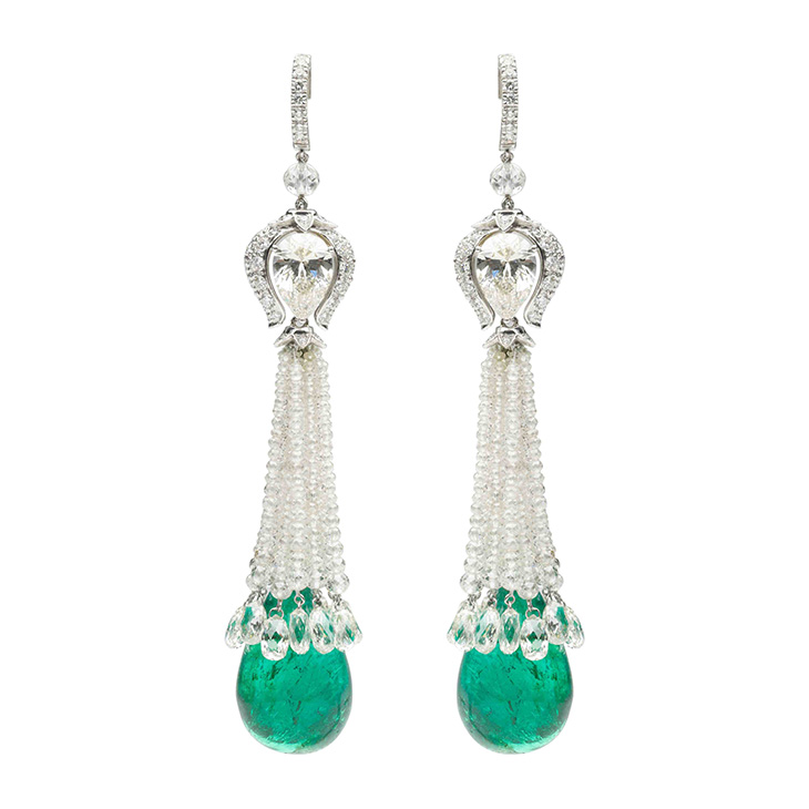 A Pair of Emerald and Diamond Ear Pendants, by Bhagat