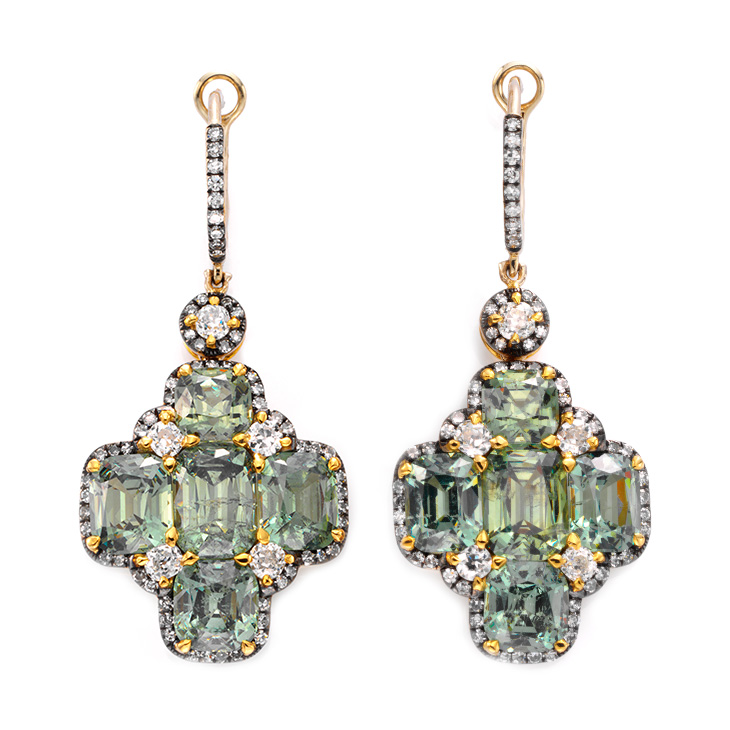 A Pair of Demantoid Garnet and Diamond Ear Pendants