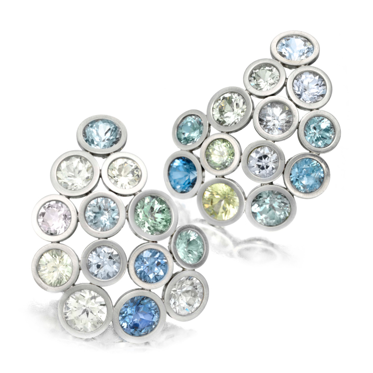 A Pair of Multi-colored Sapphire and Platinum Ear Clips, by Taffin