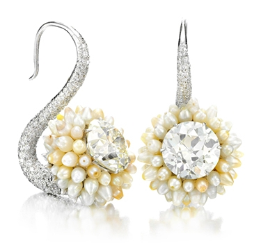 A Pair Of Natural Pearl And Diamond Ear Pendants, By Bhagat