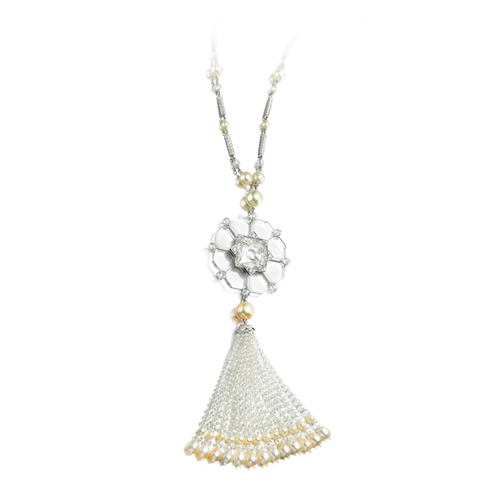A Rock Crystal, Diamond and Natural Pearl Sautoir Necklace, by Bhagat
