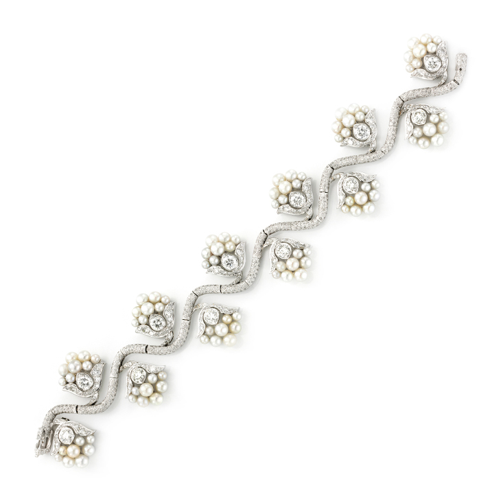 A Natural Pearl and Diamond Bracelet, by Bhagat