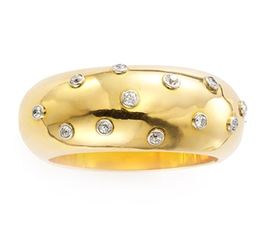 A Retro Diamond And Gold Bangle, Circa 1940