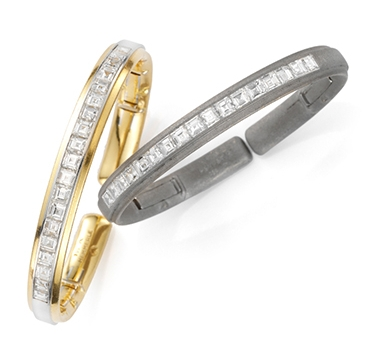 A Pair Of Diamond, Gold And Platinum Bangles, By Hemmerle