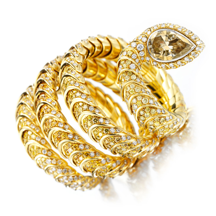 A Multi-colored Diamond and Gold Serpent Bracelet, by Hemmerle