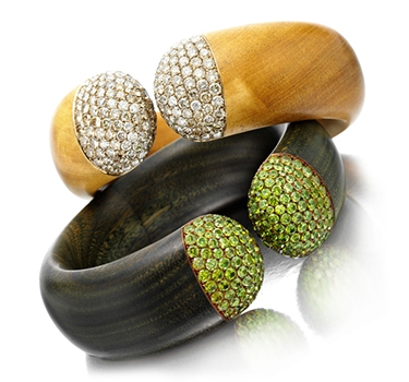 A Pair Of Multi-gem, Diamond And Wood Cuff Bracelets, By Hemmerle