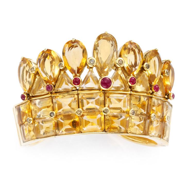 A Citrine, Ruby and Diamond Cuff Bracelet, by Rene Boivin