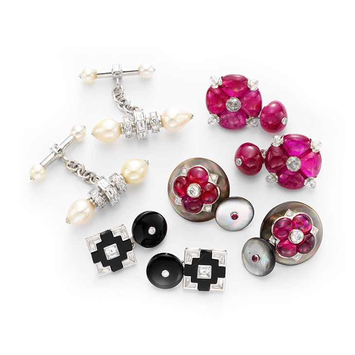 A Group of Multi-gem and Diamond Cufflinks, by Bhagat