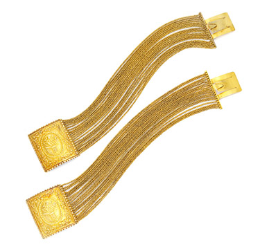 A Pair of Antique Gold Bracelets, circa 1870