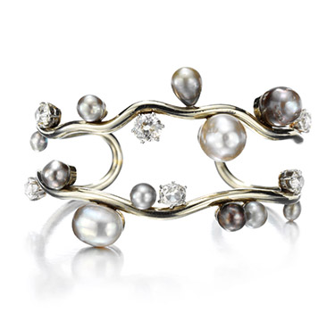 A Natural Pearl and Diamond Cuff Bracelet, by Suzanne Belperron, circa 1960