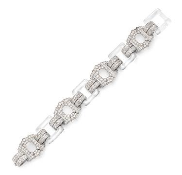 An Art Deco Diamond and Rock Crystal Bracelet, circa 1930