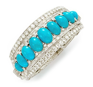 An Art Deco Turquoise And Diamond Bangle Bracelet, By Cartier, Circa 1935