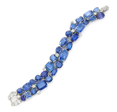 A Sapphire and Diamond Bracelet, by Cartier, circa 1935