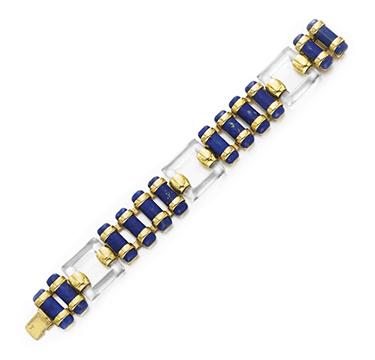 A Rock Crystal and Lapis Lazuli Bracelet, by Cartier