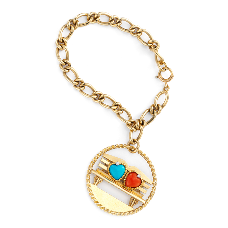 A Turquoise, Coral and Gold Charm Bracelet, by Cartier, circa 1960
