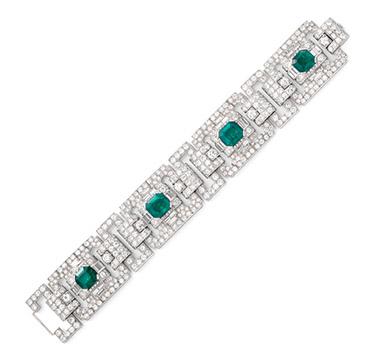 An Art Deco Colombian Emerald and Diamond Bracelet, circa 1925