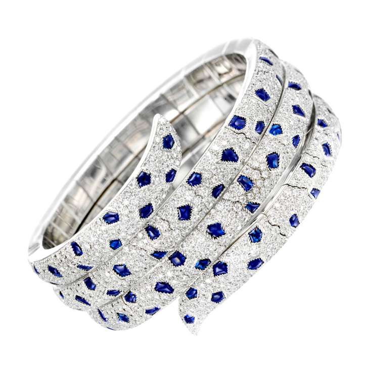 A Sapphire and Diamond 'Panther' Wrap Bracelet, by Cartier