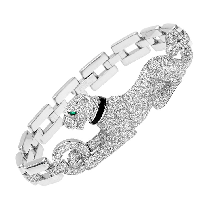A Diamond and Onyx Panther Bracelet, by Cartier