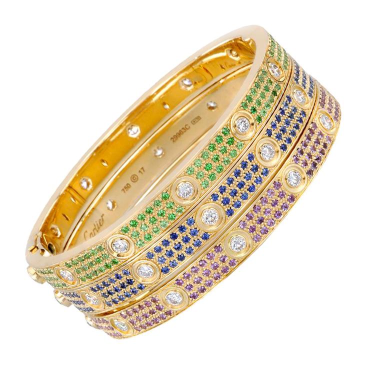 A Set of Multi-gem and Diamond Love Bracelets, by Cartier