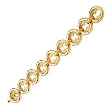 A Gold and Diamond Circle Link Bracelet, by Cartier