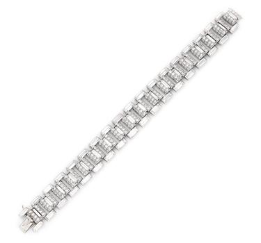 An Art Deco Diamond And Platinum Bracelet, By Cartier, Circa 1930
