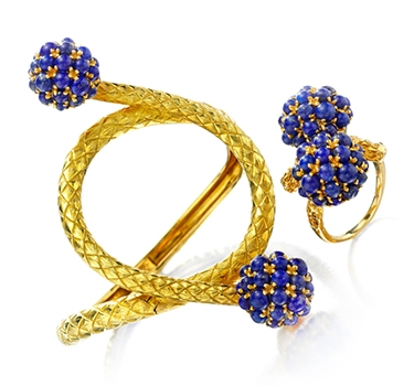 A Set Of Lapis Lazuli And Gold Jewelry: Bracelet And Ring, By Cartier, Circa 1965