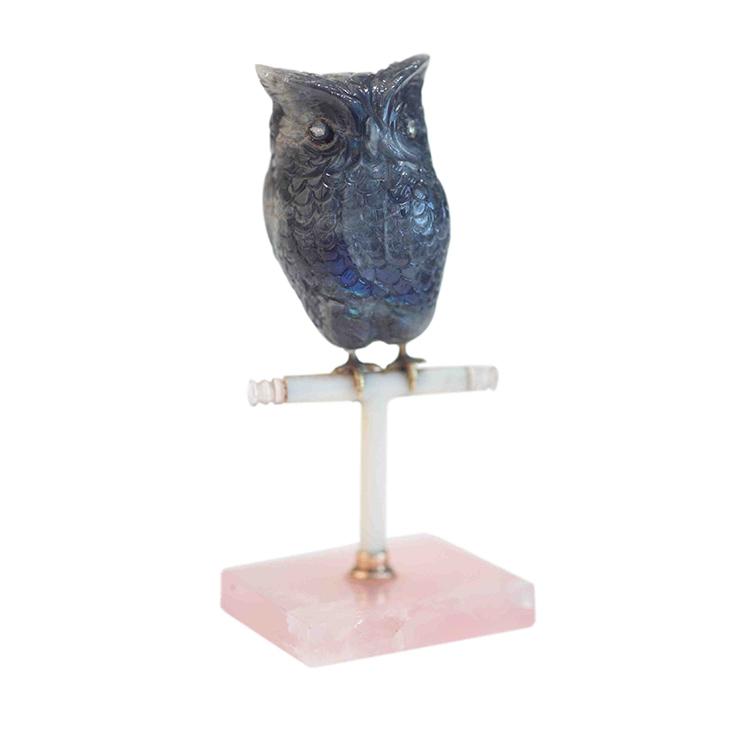 A Belle Epoque Carved Labradorite Owl Objet, by Cartier