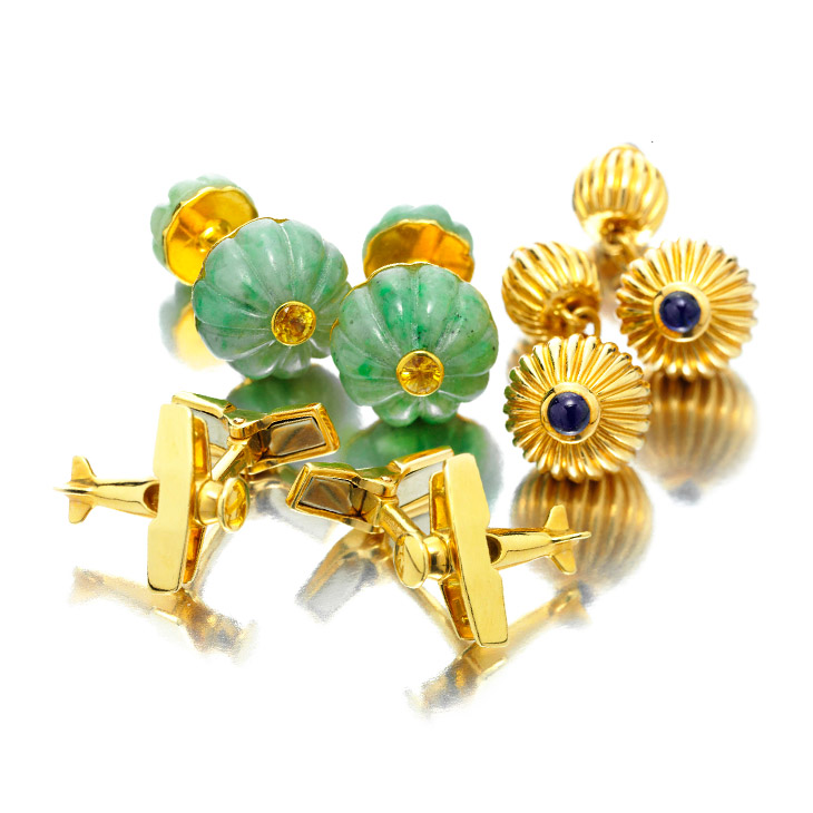 A Group of Multi-gem and Gold Cufflinks, by Cartier