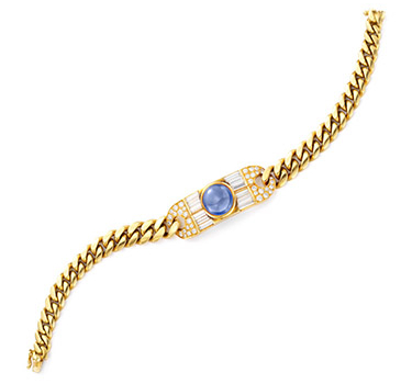 A Sapphire, Diamond And Gold Bracelet, By Bulgari