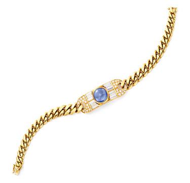 A Sapphire, Diamond and Gold Bracelet, by Bulgari