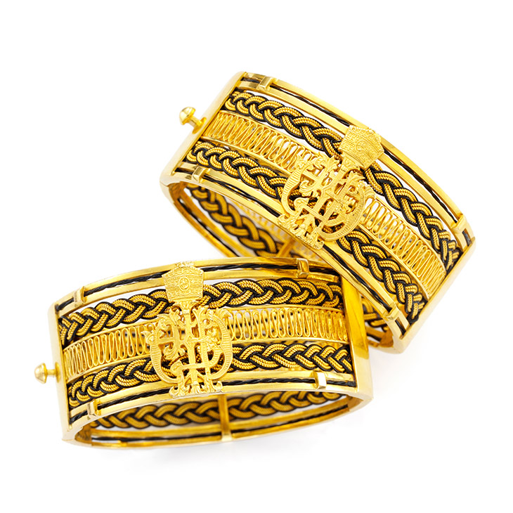 A Pair of Gold and Elephant Hair Cuffs with the Ethiopian Royal Crest, circa 1965
