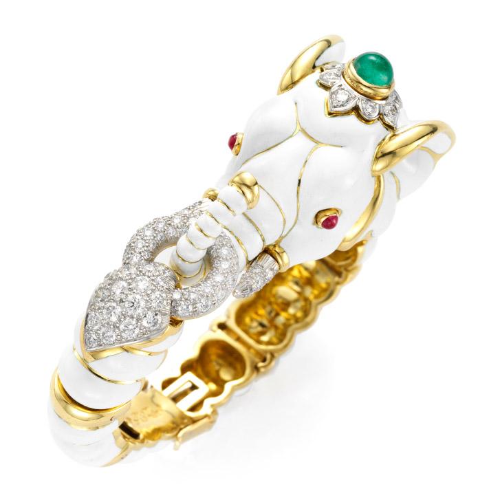 An Enamel and Multi-gem Elephant Bracelet, by David Webb