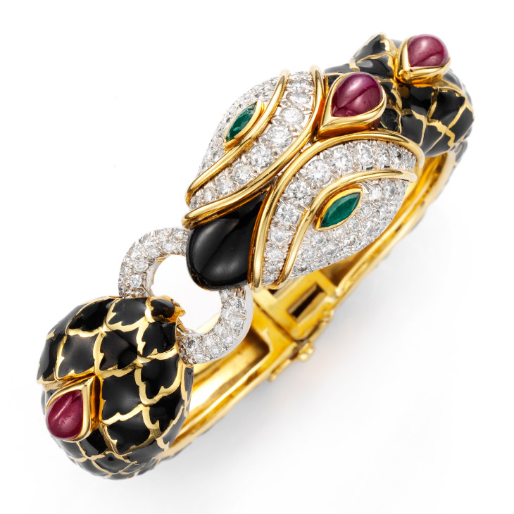 A Multi-gem and Enamel Snake Bracelet, by David Webb