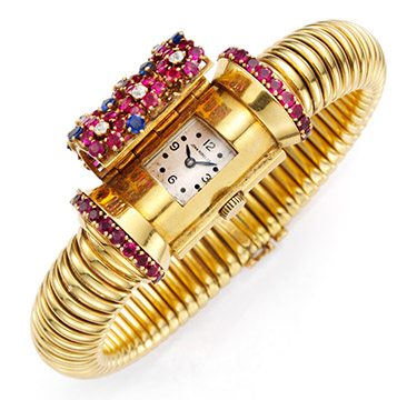 A Retro Sapphire and Ruby Bracelet Watch, by John Rubel