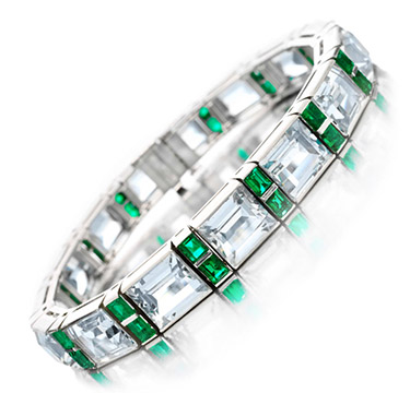 An Aquamarine and Emerald Bracelet, by Ruser