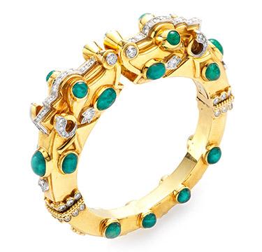 An Emerald and Diamond Chimera Cuff Bracelet, by David Webb, circa 1957