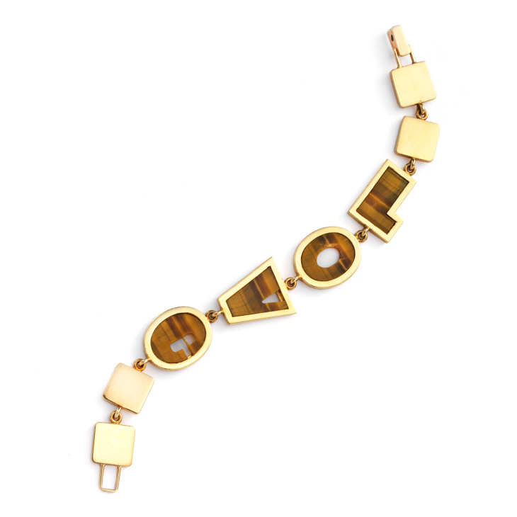 A Tiger's Eye and Gold 'LOVE' Bracelet