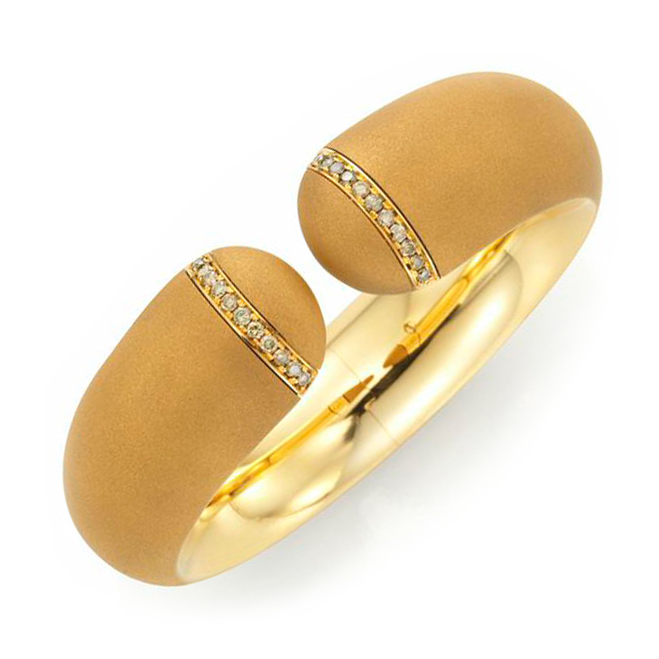 A Sandblasted Gold and Diamond 'Harmony' Cuff, by Hemmerle
